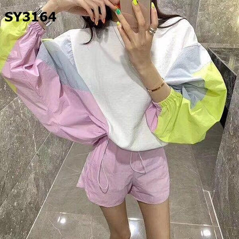 SY3164 (one set) white x pink top x shorts