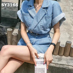 SY3166 Blue denim jumpsuit