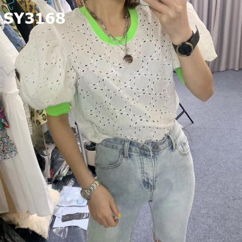 SY3168 Colored collar lace top