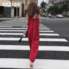 SY3169 Red suspender pants