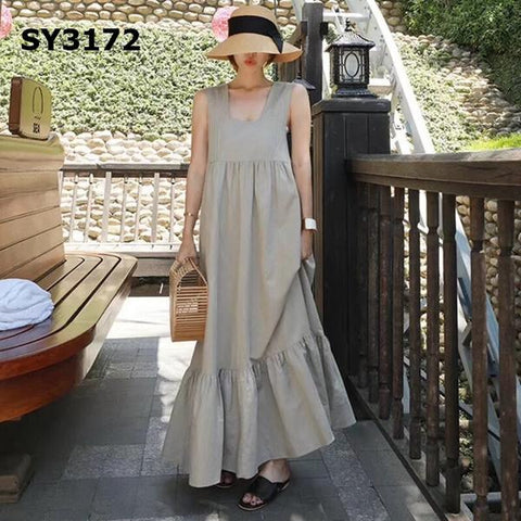 SY3172 Khaki green loose dress