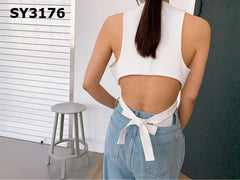 SY3176 White sexy back crop top