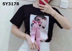 SY3178 Black ribbon tee