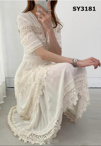 SY3181 Ivory V neck lace dress