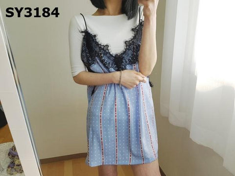 SY3184 Skyblue print x black lace vest dress