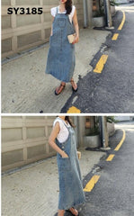 SY3185 Blue denim suspender dress