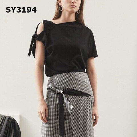 SY3194 Black tied one shoulder tee