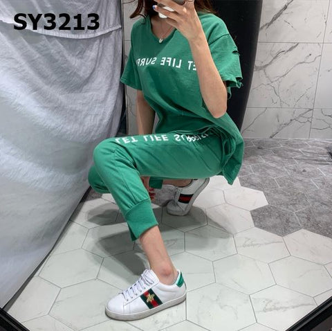 SY3213 (one set) print tee x pants
