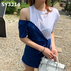SY3214 Mixed tone off shoulder tee