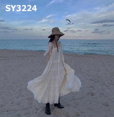 SY3224 Sleeveless loose flare long dress