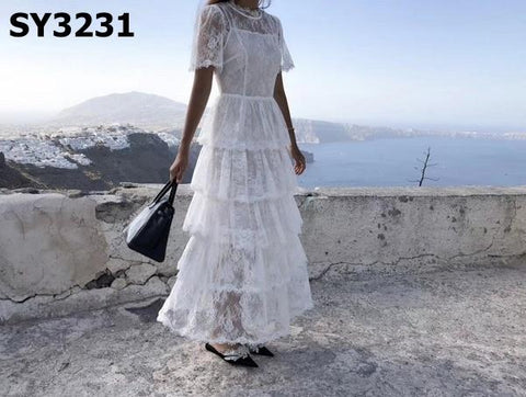SY3231 White lace layering dress