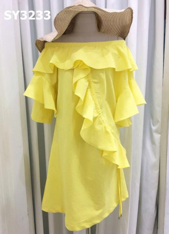 SY3233 Off shoulder ruffles dress