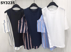 SY3235 Two tone cutout shoulder stripe x plain tee