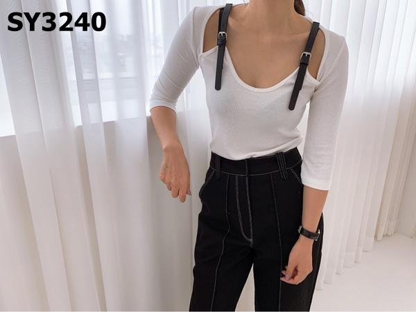 SY3240 Buckle strap tee