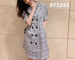 SY3242 Double breasted check dress