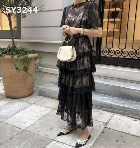 SY3244 Black lace dress