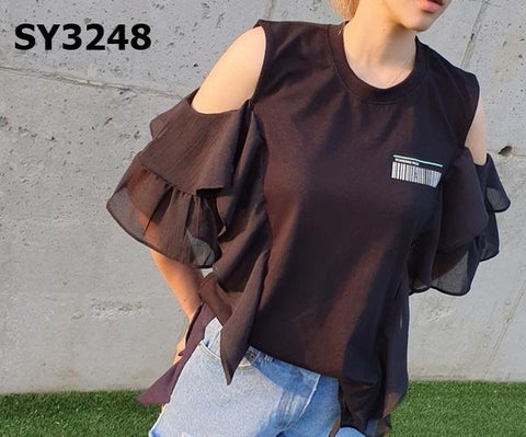 SY3248 Cut out shoulder ruffles tee