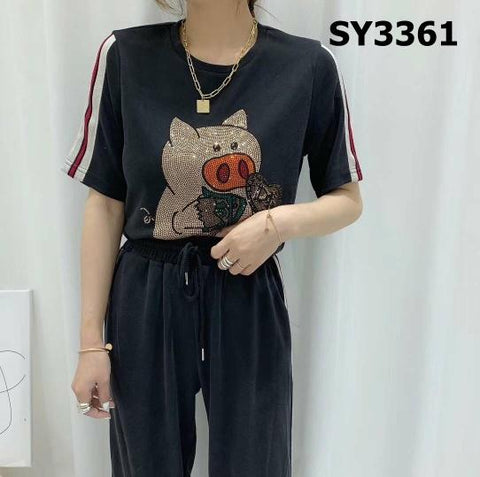 SY3361 (one set) Pig print tee x pants