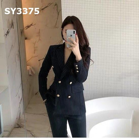 SY3375 (one set) Stripe button blazer x pants
