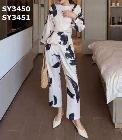 SY3451 Ivory tie dyed long pants