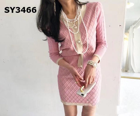 SY3466 (one set) Pink cardigan x skirt