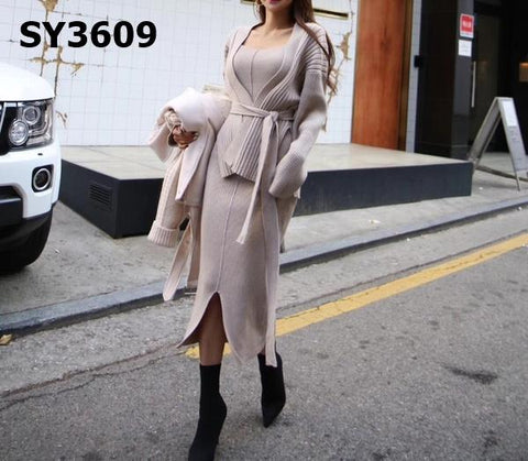 SY3609 (one set) Cardigan x vest dress