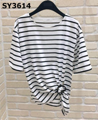 SY3614 Stripe tied up tee