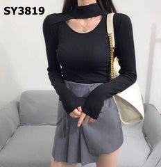 SY3819 Cut out collar high neck tee