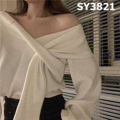 SY3821 V neck wrapped sweater
