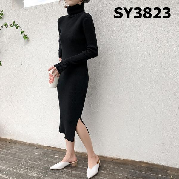 SY3823 Turtle neck knit dress