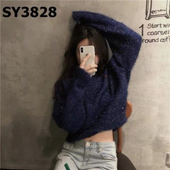 SY3828 Navy crop sweater