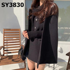 SY3830 Black double breasted cape jacket