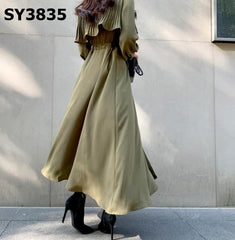 SY3835 Green cape flare dress