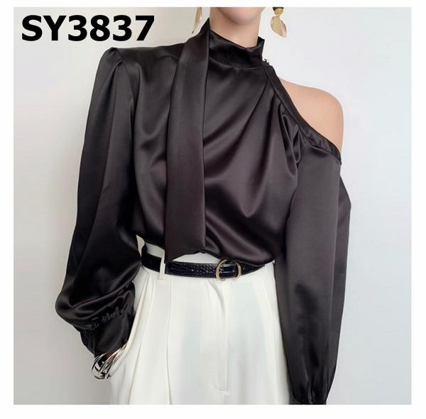 SY3837 One cut out shoulder blouse