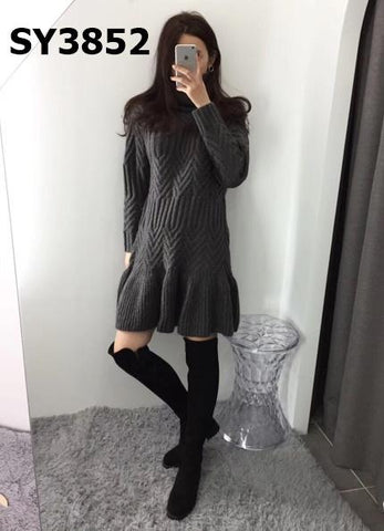 SY3852 Charcoal twist knit dress