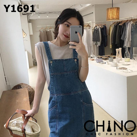 Y1691 Blue denim vest workman dress