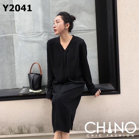 Y2041 V neck knit dress