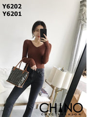 Y6202 V neck tight tee