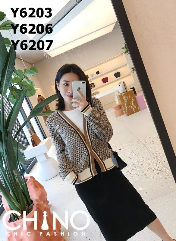Y6203 Brown tone V neck cardigan