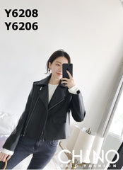 Y6208 Black PU leather biker jacket