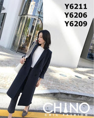 Y6211 4 buttons woolen long coat