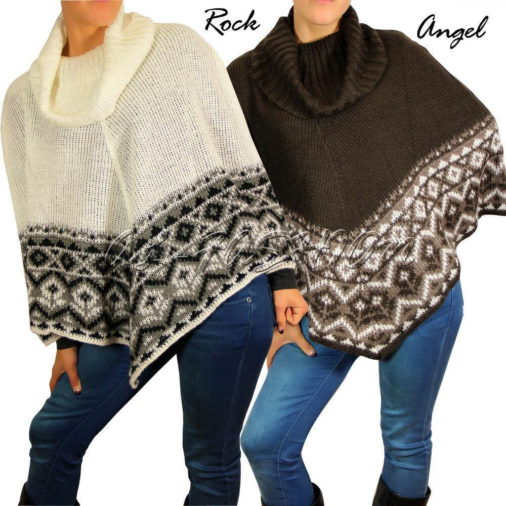 ROCK ANGEL Poncho im Norweger-Look  STRICK  ROLLKRAGEN  Gr.XS,S,M,L,XL - modeeins.de