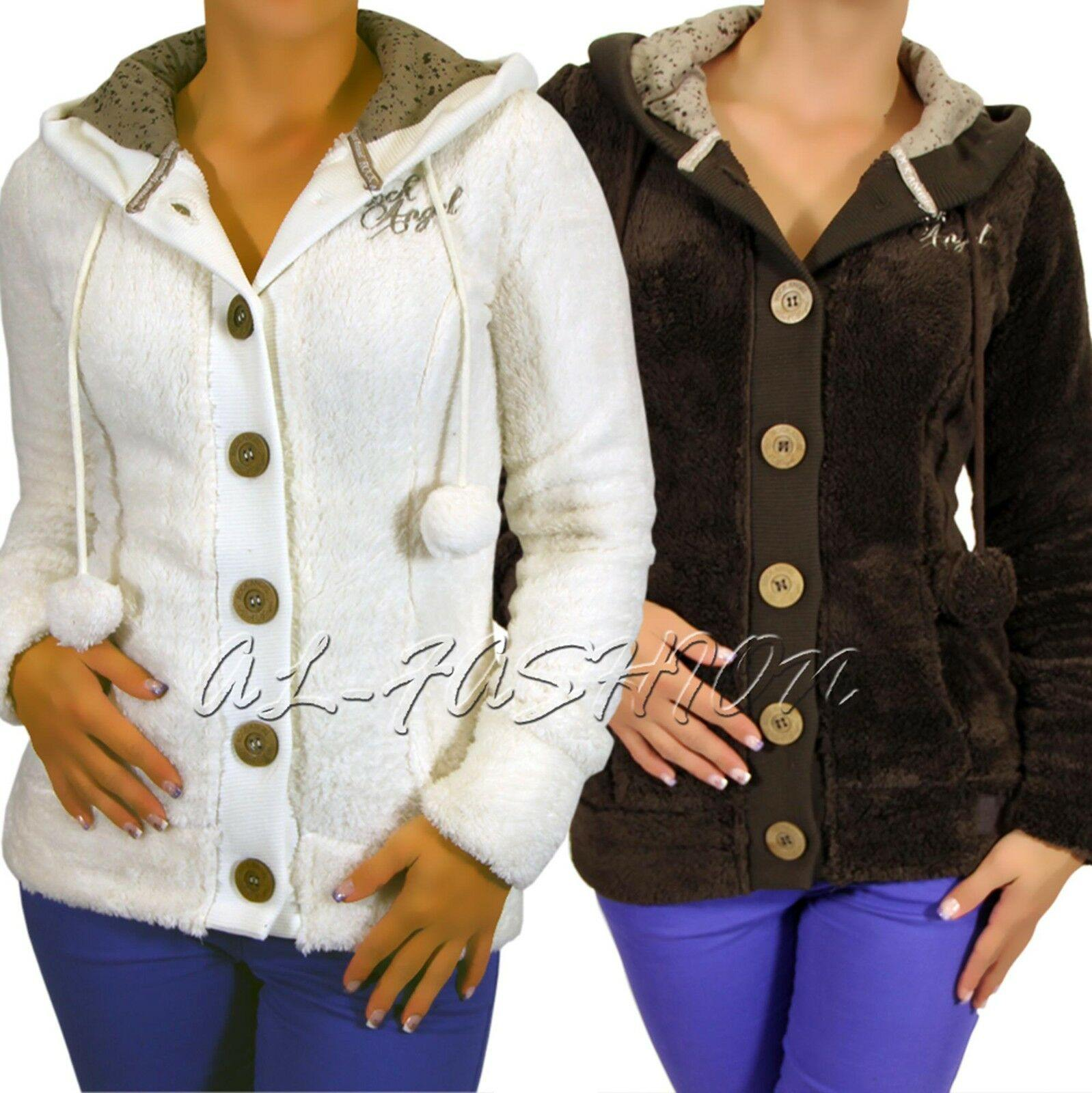 ROCK ANGEL LADIES JACKET TEDDY  ÖRCHEN HOOD+POMPOMS RIB BLENDS Gr.XS,S,M,L,XL - modeeins.de