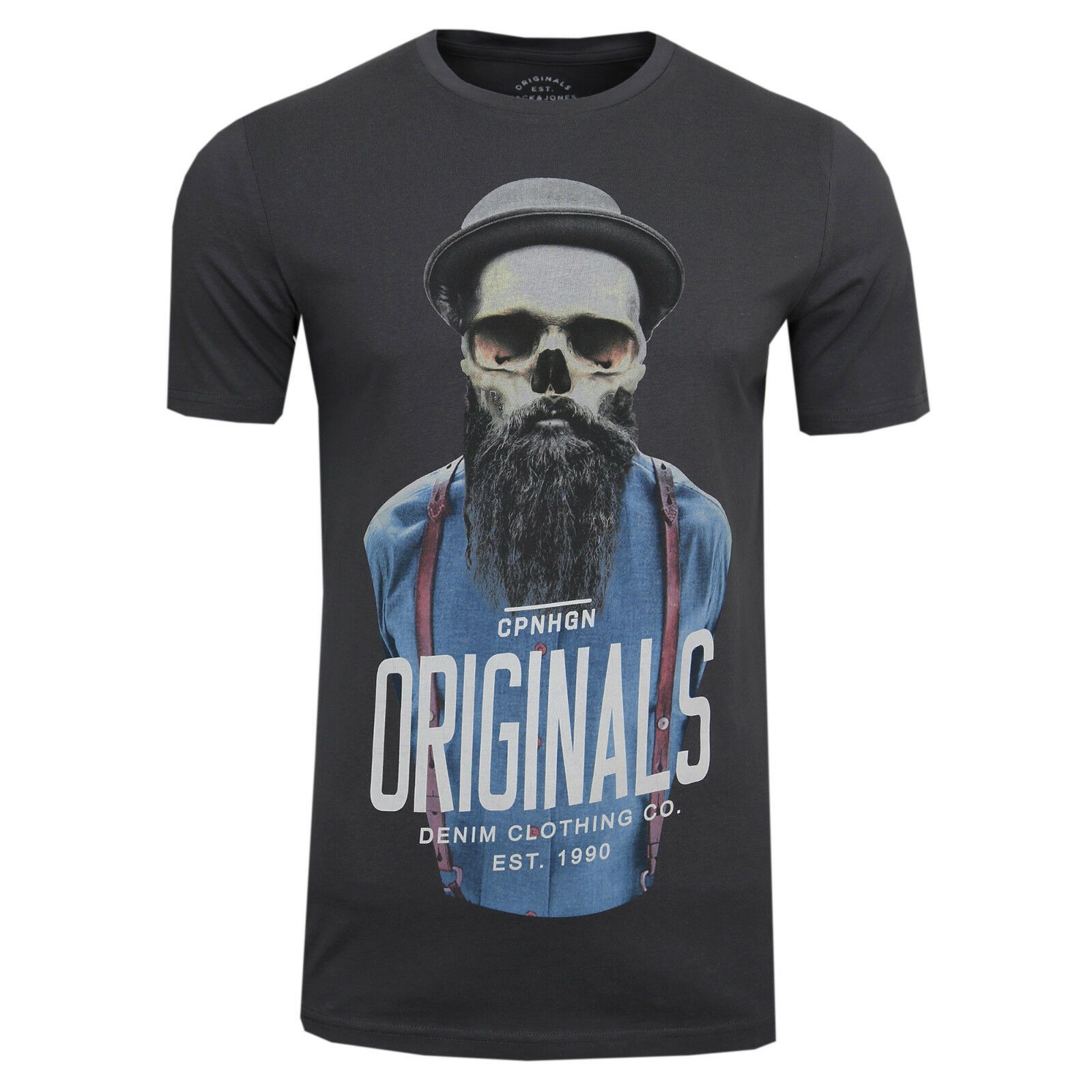 JACK & JONES Herren T-Shirt Funny Skull Tee Crew Neck Print - Jack & Jones
