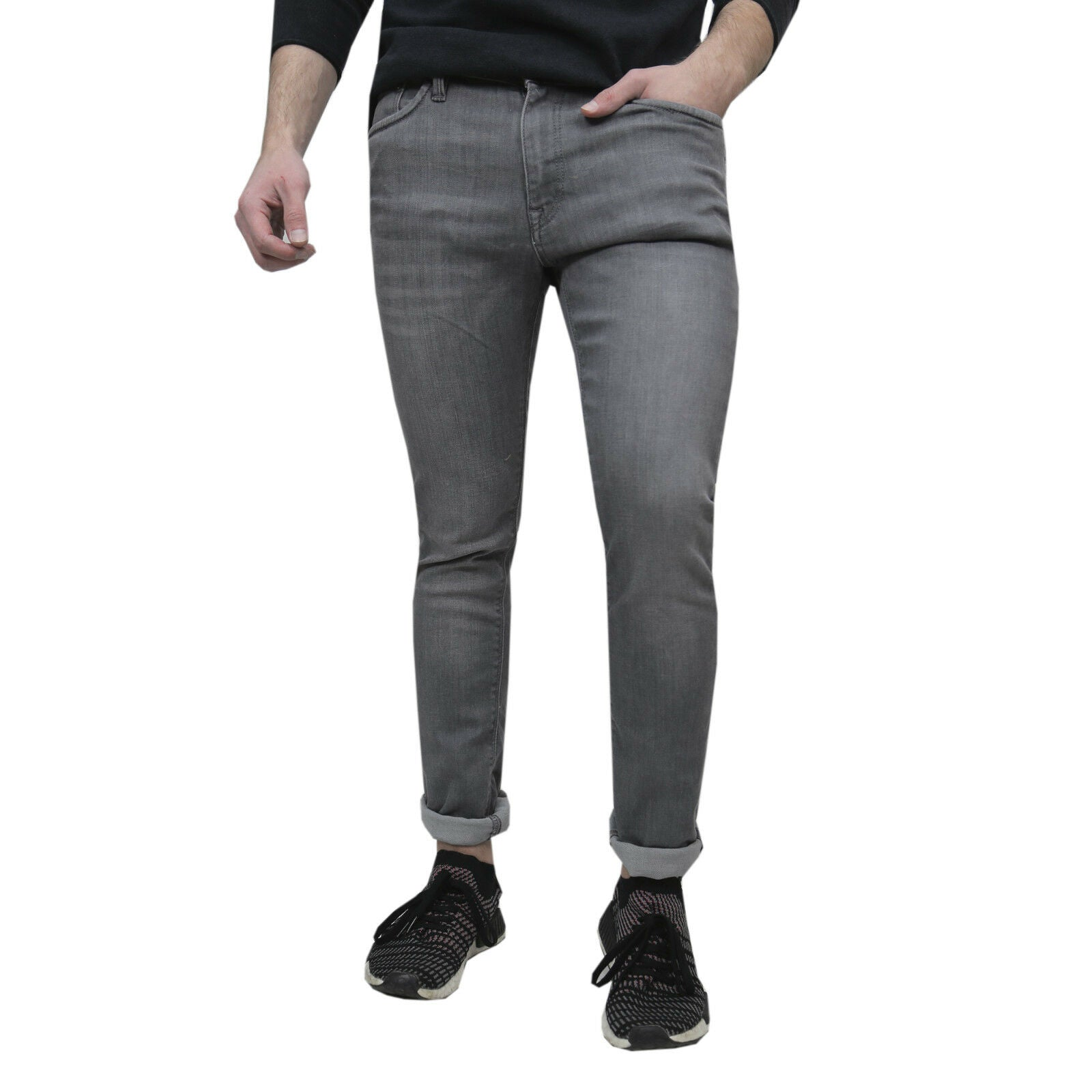 JACK & JONES Herren Stretch Slim Jeans Grau Grey Denim