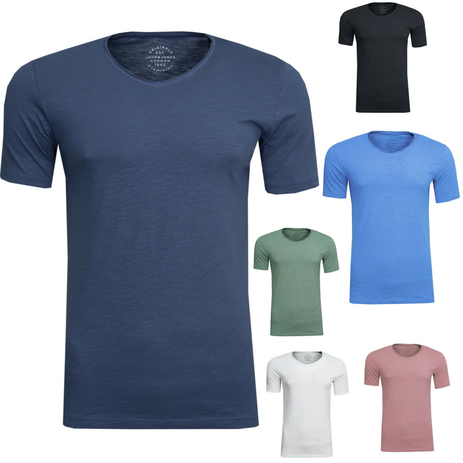 JACK & JONES Herren T-Shirt V-Neck Unterhemd Baumwolle Slim Fit NEU - Jack & Jones