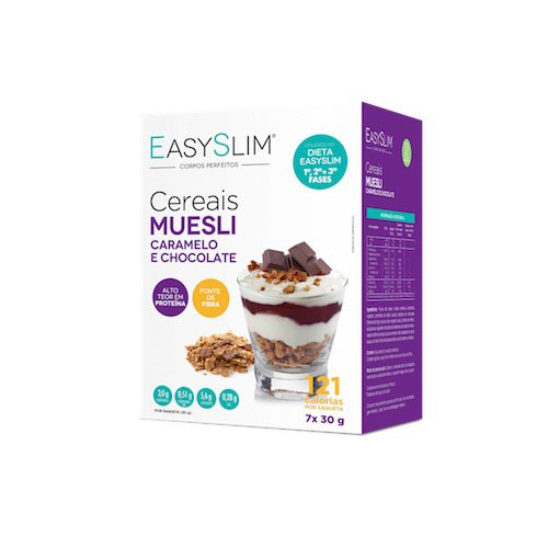 Muesli Cereais Caramelo e Chocolate 30g x7, Easy Slim - Farmácia Garcia