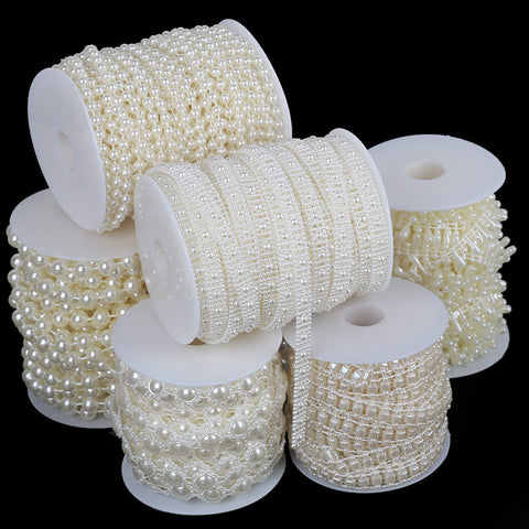 2-10m/bag imitation pearl beads chain trim