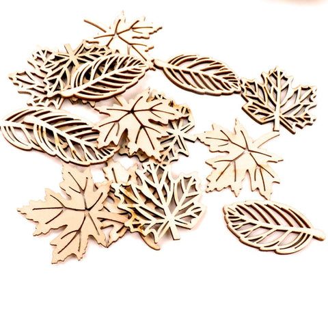 Wooden leaf patterns 50-52mm 10Pcs