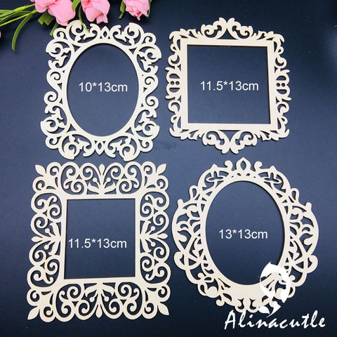 4Pc lace border laser wood frames